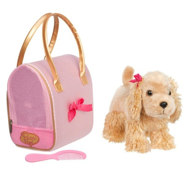 Hund i taske - Cocker spaniel, lyserød taske