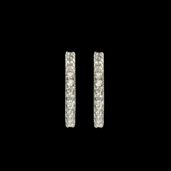 Hoops øreringe - sort sølv med lyse sten
