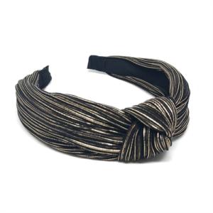 Hårbøjle - Plissé, sort med guld