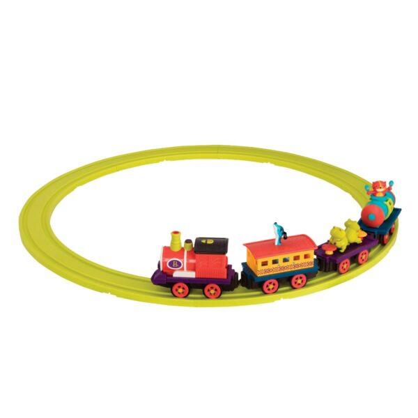 B. Musikalsk togsæt, med lys og røg