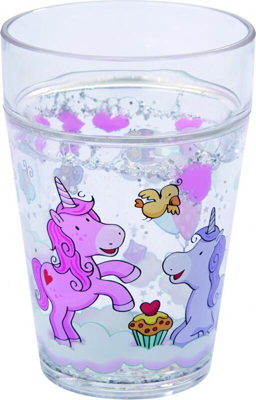 Glas med glimmer, enhjørning